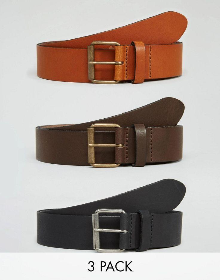 Imagen 1 de Pack de 3 cinturones de cuero de ASOS; AHORRA UN 22%