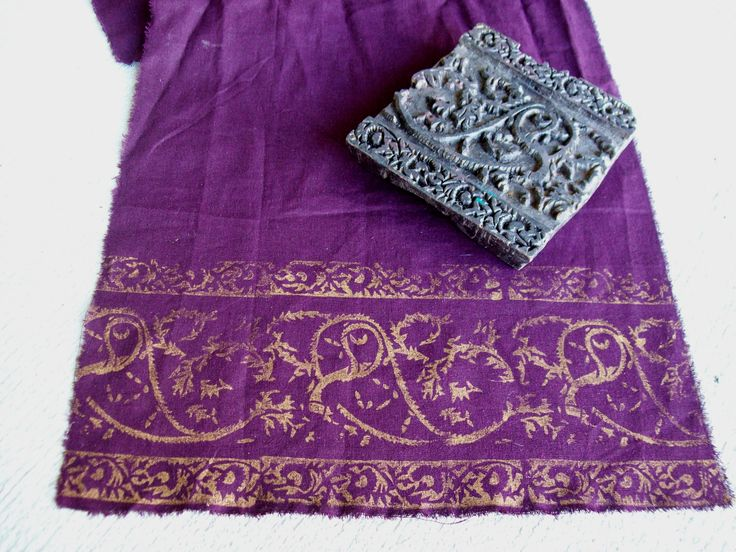 Gold acrylic paint on purple linen fabric. I bought the stamp from Washburn Imports. These will be curtain panels for my bathroom. Oh how I love how they turned out <3 #bali #gypsy #diy