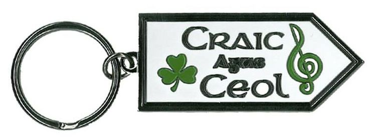 Craic Agus Ceol, Fun & Music, Sign post Metal Keyring  http://paddywhackery.ie/home/keyrings/