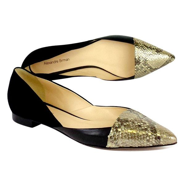 Pre-owned Alexandre Birman Black Suede & Gold Snakeskin Flats ($149) ❤ liked on Polyvore featuring shoes, flats, gold peep toe flats, black wedge espadrilles, black flat shoes, espadrille flats and black suede oxfords