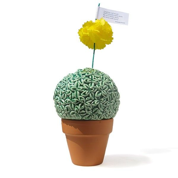 """Entirely handmade, the piece """"The Jellyfish and the Basil"""" is composed of Portuguese-style terracotta vase and glazed earthenware campanula (basil) in white. It is also ornamented with a paper carnation, handmade by a specialized Portuguese artisan, and accompanied by a poem in the Portuguese popular form by the poet Fernando Pessoa. Available in white colour too."""