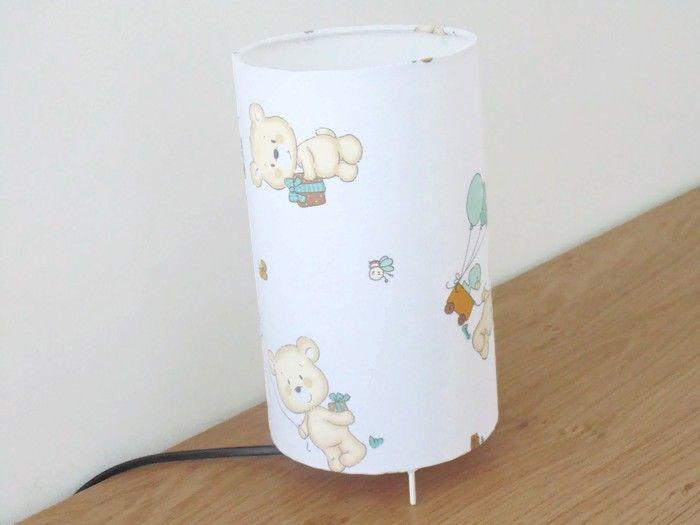 lampe tube blanche motifs oursons nounours ballons lampe chevet lampe d'appoint idée cadeau naissance baptême anniversaire trousseau bébé