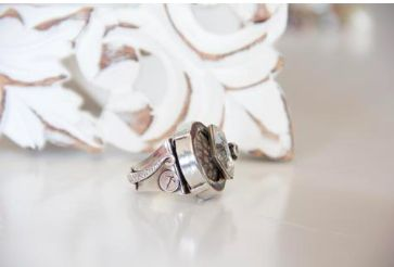 REMINISCENCE PARIS Python & Silver Crystal Ring Purchase: $75.00 CAD