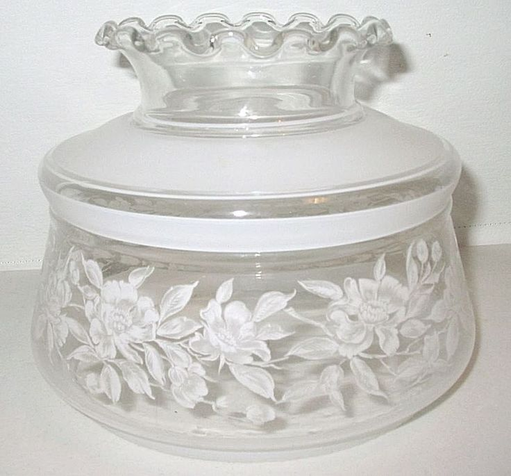 "Vintage 7"" Fitter Clear Frost Painted Floral Ruffle GWTW Hurricane Lamp Shade"