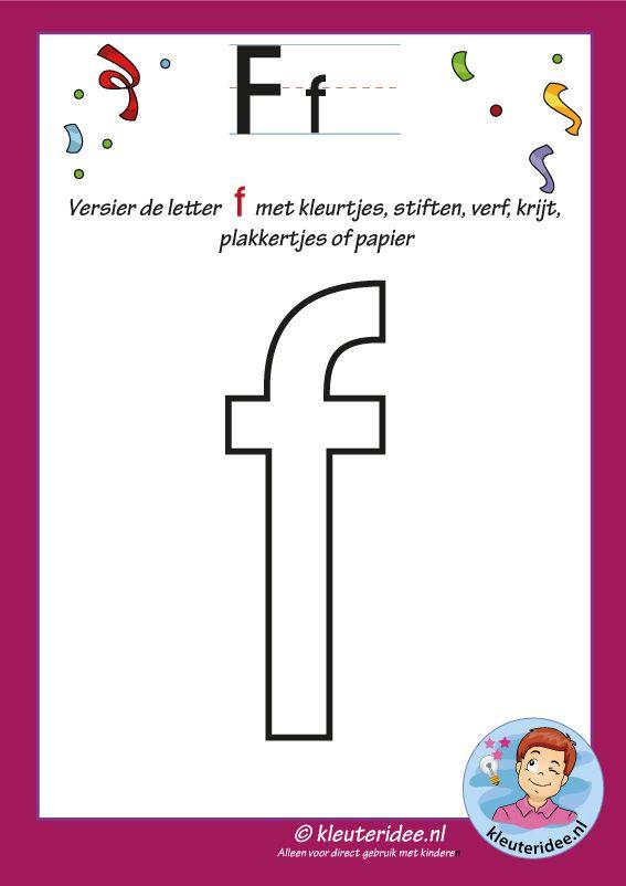 Pakket over de letter f blad 4, versier de letter f, letters aanbieden aan kleuters, kleuteridee, free printable.
