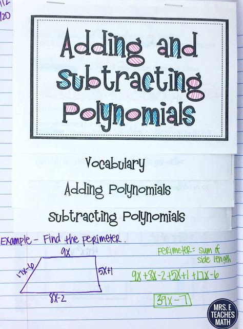 Adding and Subtracting Polynomials Flipbook - notes for Algebra 1
