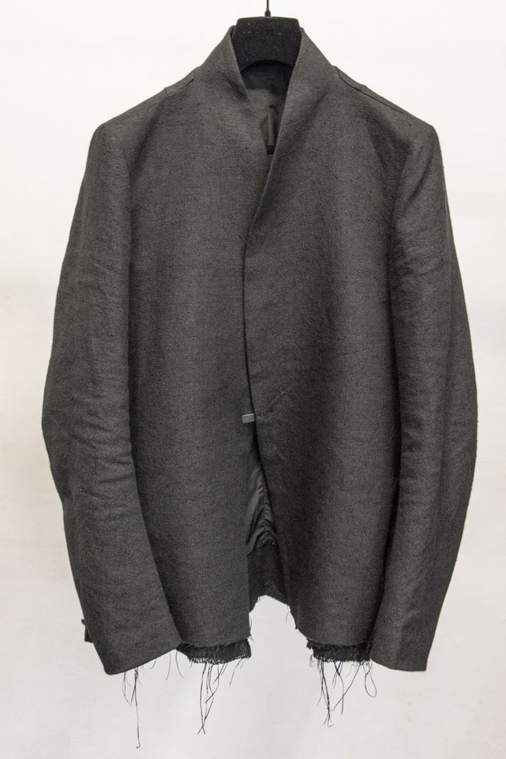 Song For The Mute, S/S 2015 Collection - Linen raw hemmed coat