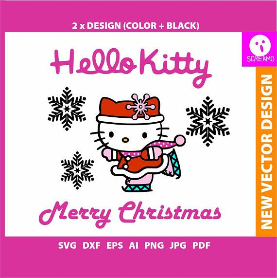 HELLO KITTY Merry Christmas SVG cut files Hello Kitty