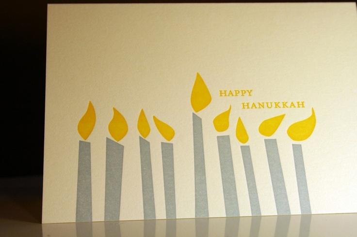 CLEARANCE--Menorah Candles Letterpress Hanukkah Note Sets, by Misha Zadeh of Turquoise Creative $6.00, via Etsy.
