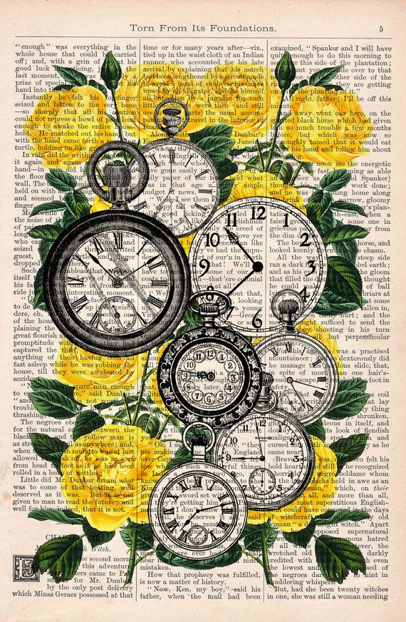 Book print Watch collage dictionary book Clocks over Roses Vintage print or image for any DIY paper craft project. Great for use when creating your own party or holiday decorations.  Use this as inspiration for your own made by hand crafts.