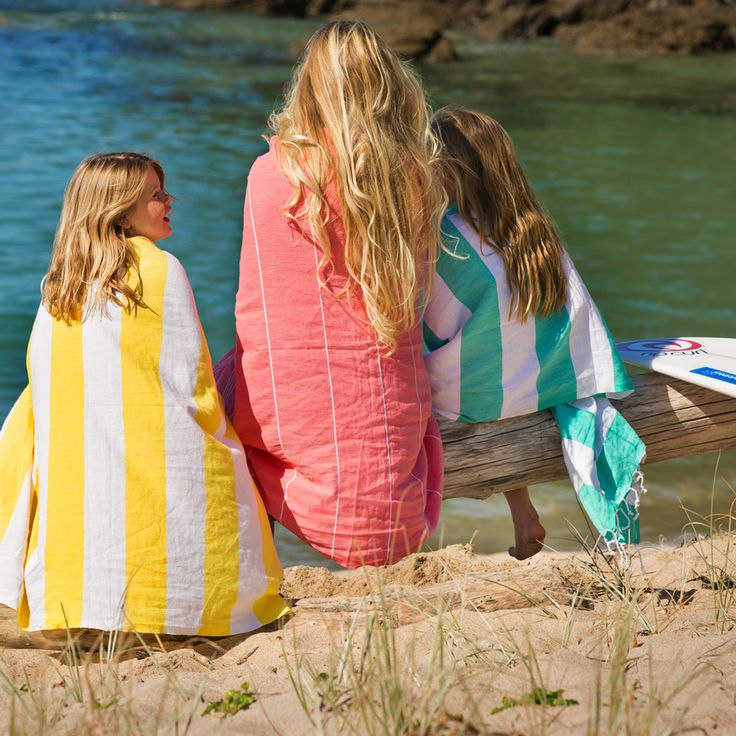 kids wearing Hammamas beach towels