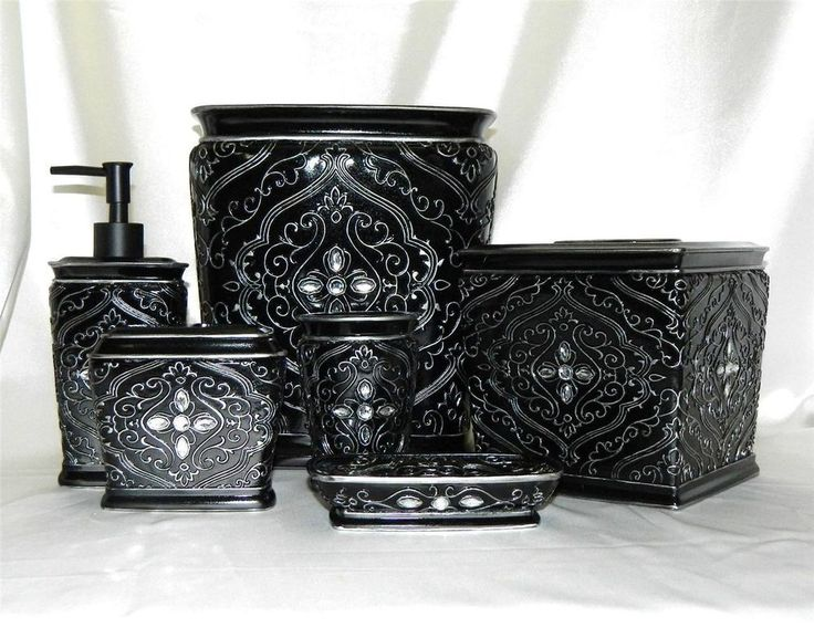 Francesca 6 Pc Bath Accessory Set Black Silver Rhinestone W Wastebasket Tissue