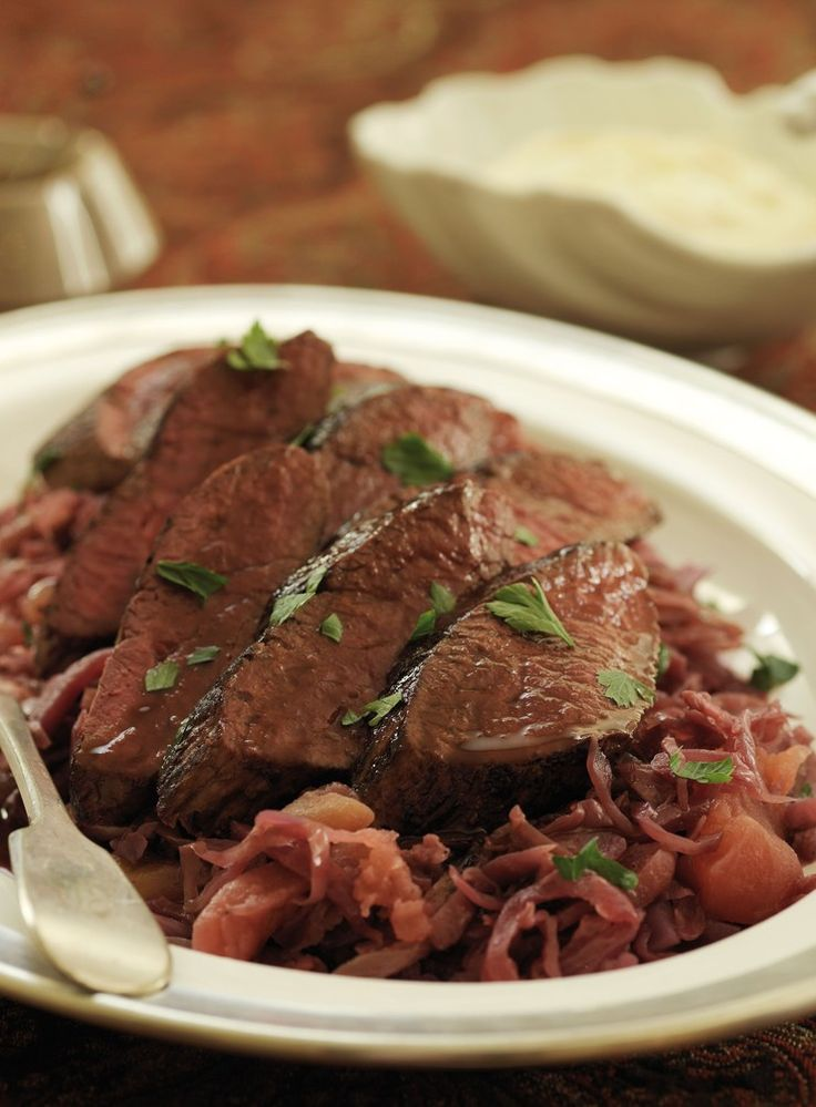 Ostrich with Red Cabbage and Horseradish Cream