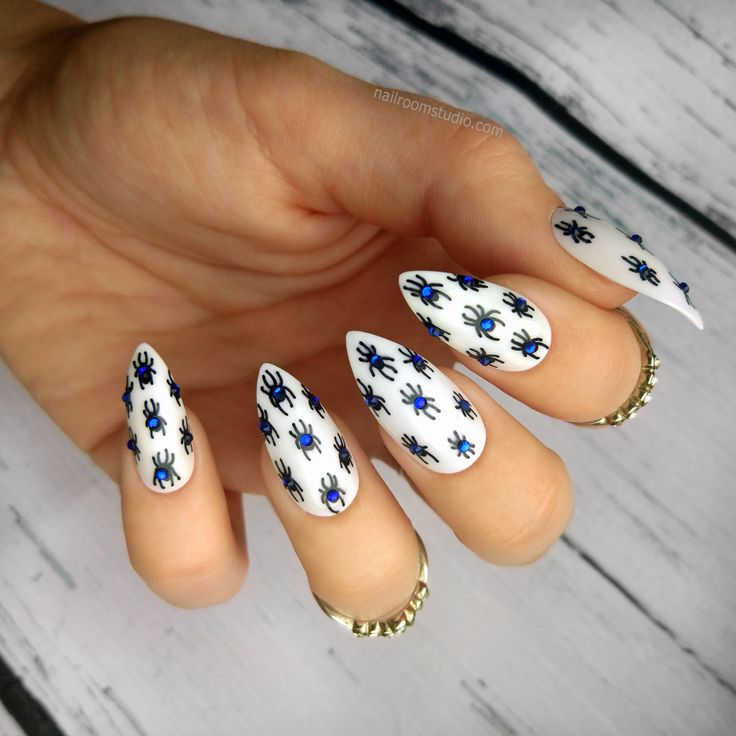 READY TO SHIP | blue spiders on white press on nails | genuine crystals accents | 3D nail art | long short | stiletto ballerina coffin oval http://etsy.me/2FD3dmN #customnails #glueonnails  nailroomstudio.com