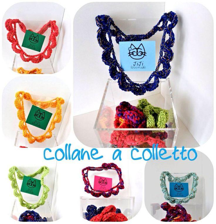 Handmade NECKLACES with crochet work Model collar  Collane realizzate a mano ad uncinetto Modello colletto