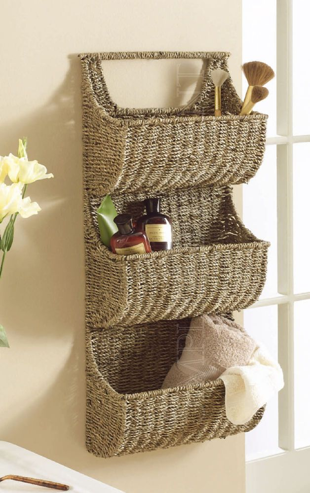 """Seagrass 3 Part Wall Basket by Tag, 29"""" H x 13"""" W, Coffee with Woven Handle $72.90 with #FreeShipping"""