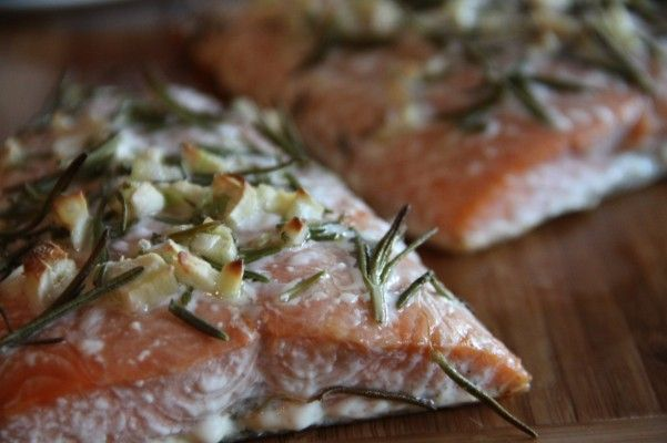 Baked Salmon with Rosemary, Garlic, and Olive Oil