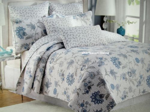 Nicole Miller 3pc King Quilt Set Floral Blue Gray Toile