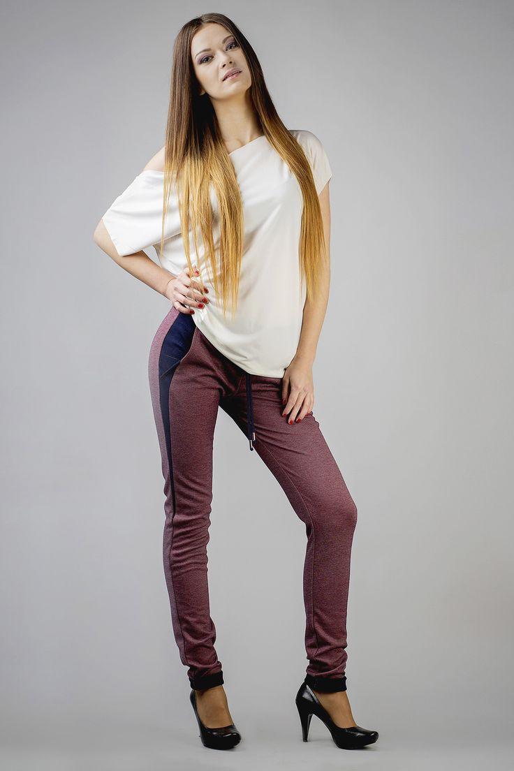 Bordowe spodnie damskie typu rurki