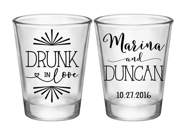 "100x Custom Wedding Favors 2 Side Funny Shot Glasses | 1.75 oz Clear | Drunk In Love (1C) | Choose Imprint Color |  by ""ThatWedShop"" on Etsy 