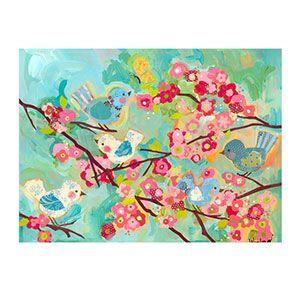 Oopsy Daisy Cherry Blossom Birdies Canvas: 40 x 30