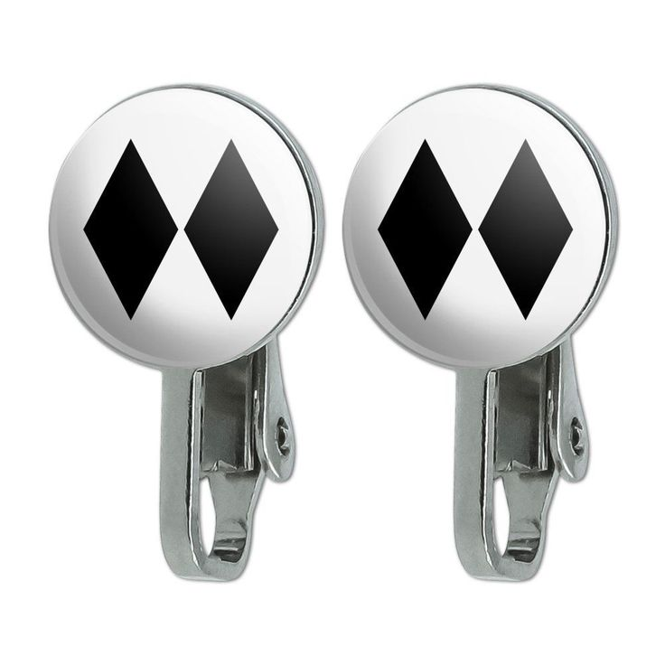 Double Black Diamond Skiing Experts Only Novelty Clip-On Stud Earrings