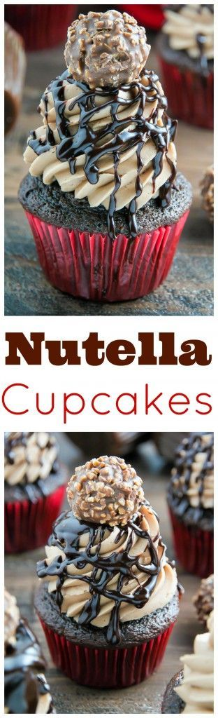 Triple Chocolate Nutella Cupcakes topped with silky chocolate ganache and a chocolate hazelnut truffle.
