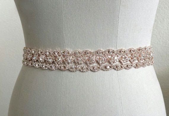 Rose Gold Headband Bridal Belt Crystal Bridal Sash by BingCheri