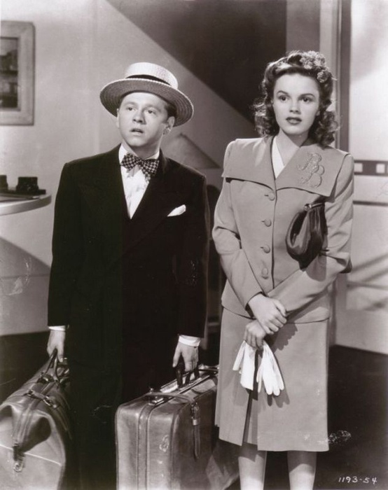 """Judy Garland (June 10, 1922 – June 22, 1969) as Miss Betsy Booth and Mickey Rooney (September 23, 1920 - ) as Andrew 'Andy' Hardy in """"Life Begins for Andy Hardy"""", 1941"""