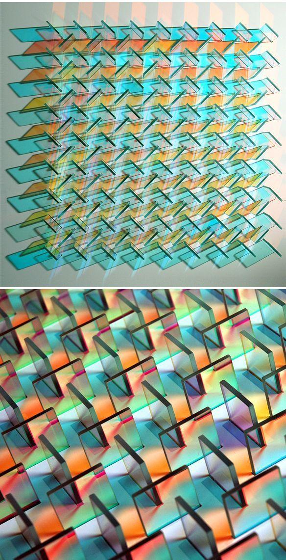 Panneaux de verre. Installation de Chris Wood