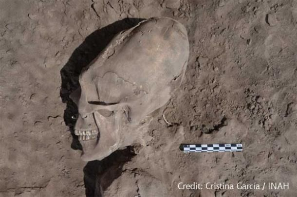 "When archaeologists excavated the ancient burial site ""El Cementerio,"" near the Mexican village of Onavas, they made a shocking discovery. They unearthed 25 skulls, 13 of which were elonga"