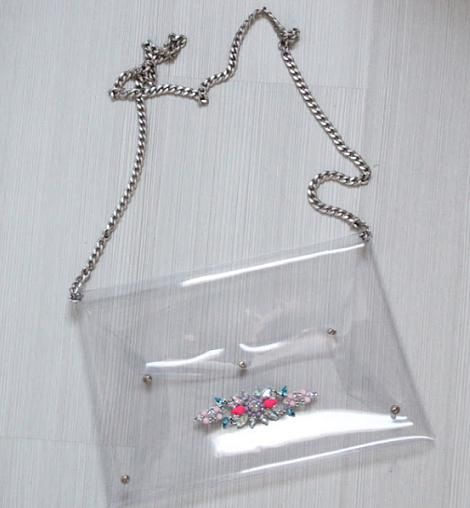 hacer bolso transparente con pedreria