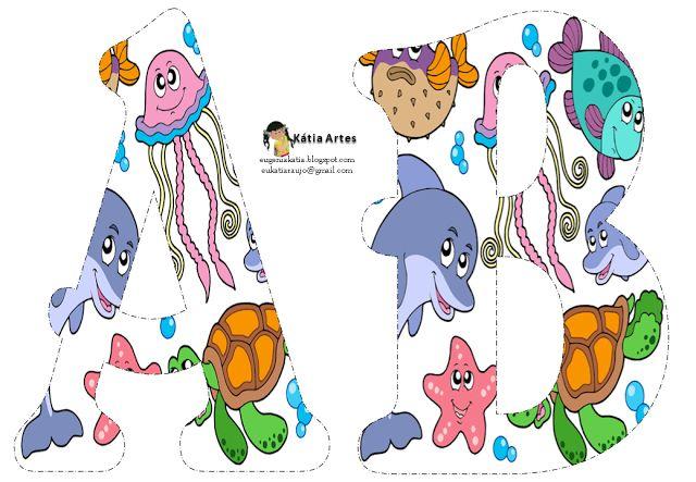 Alfabeto relleno con animales marinos. - Oh my Alfabetos!