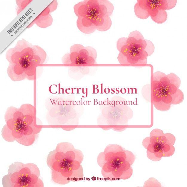 水彩かわいい桜の背景 無料ベクター