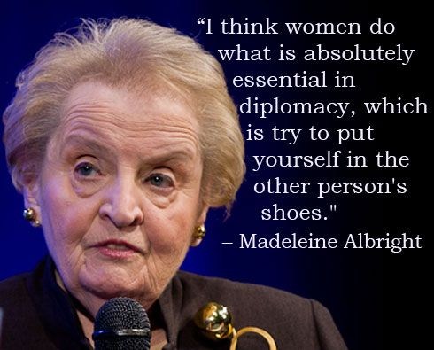 Madeleine Albright.  First woman to be appointed as Secretary of State.  She was a fine diplomat and international representative of the US.
