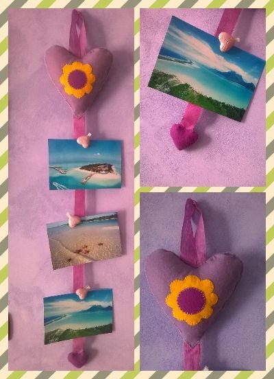 Portafoto feltro e pannolenci cuore e fiore