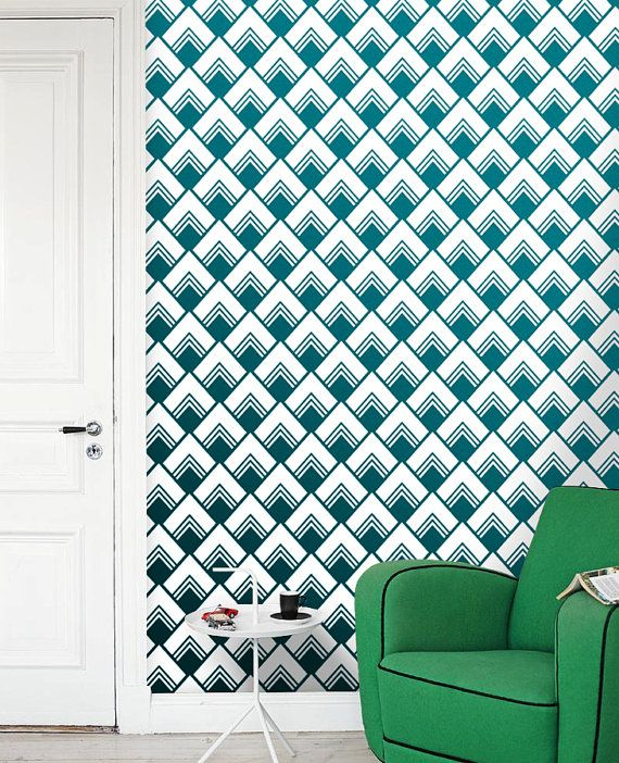 This Is Image Shows Removable Self Adhesive Vinyl Wallpaper Wall Decal    Diamond Pattern Sticker Wall Treatment Home Decor Design Green.