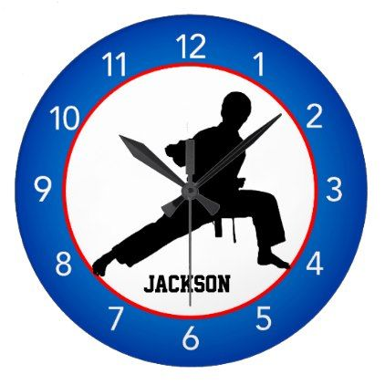 big clocks martial arts silhouette red wall clock black gifts unique cool diy customize personalize