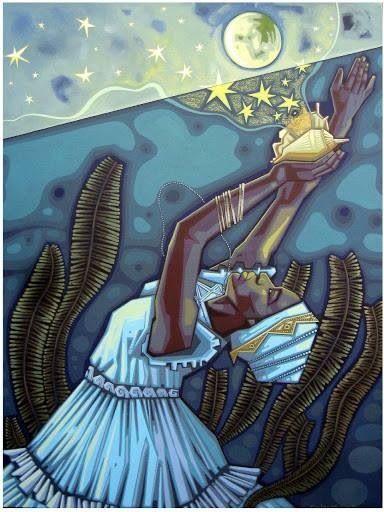 Iemanjá ou Yemanjá, orixá feminino dos mares , mãe de todos os Orixás de origem yorubana. Orixá da limpeza, mãe de muitos orixás. Dona da fertilidade feminina e do psicológico dos seres humanos.- linhadasaguas.com.br