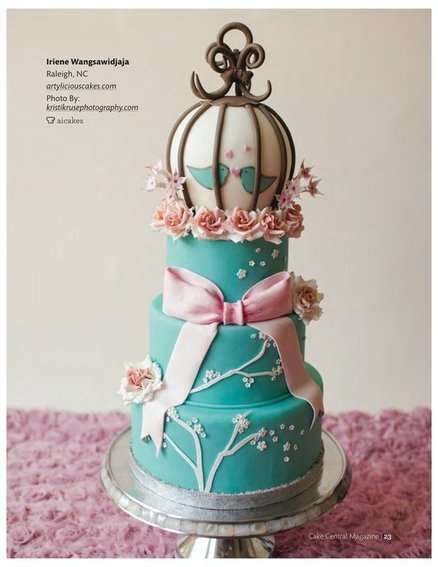 Pink & Teal Wedding Cake. I would prefer Peonies to roses & more realistic looking red-breasted (rose) bluebirds.