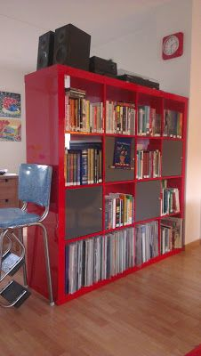 expedit shelving unit ikea high gloss red storage hallway living room bedroom. Black Bedroom Furniture Sets. Home Design Ideas