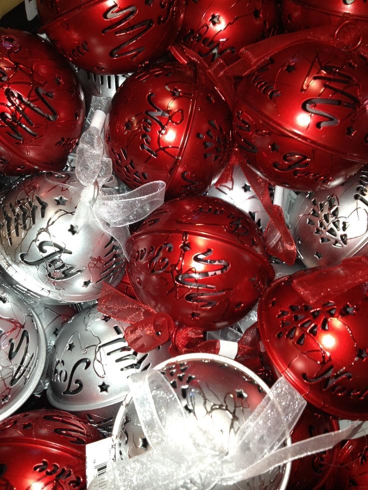 Red Or Silver Bells Xmas Tree Deco 'JOY' or 'NOEL' $8.95