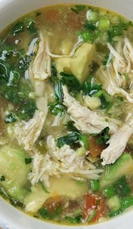 Chicken Avocado Soup. Serve with good tortilla chips and sour cream....shredded cheese would be good too.