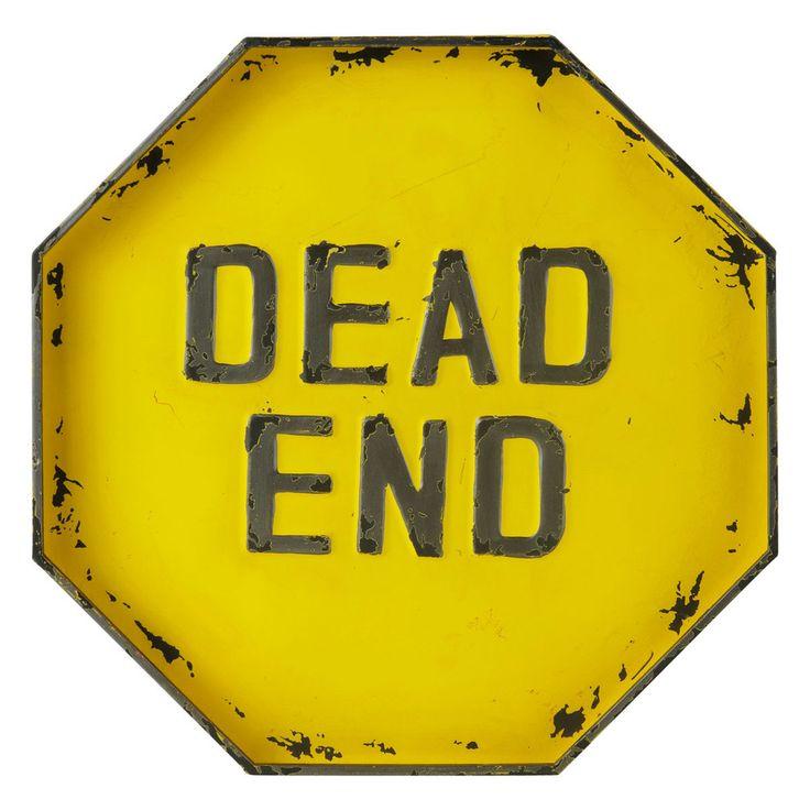 Geel metalen DEAD END bord H 50 cm