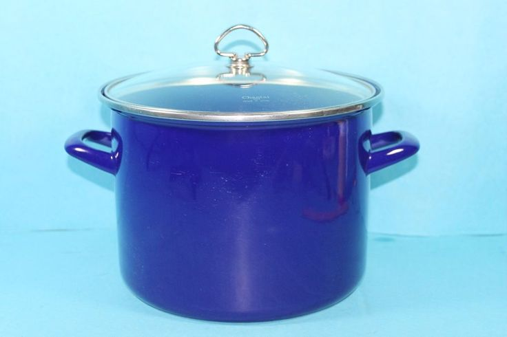 bb 4 qt. Cobalt Blue Enamel-on-Steel Stock Pot with Glass Lid  #Chantal
