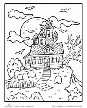Halloween First Grade Holiday Worksheets: Haunted House Coloring Page