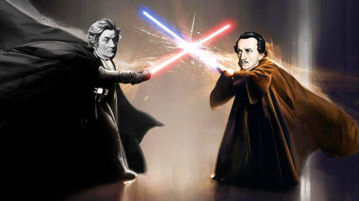 """mukukagu:  """"Only Polish guys can understand that XD  So sorry XD  I'm dying  Let the force be with you  Słowacki vs Mickiewicz. Ostateczne starcie.  Słowo i poezja.  """""""