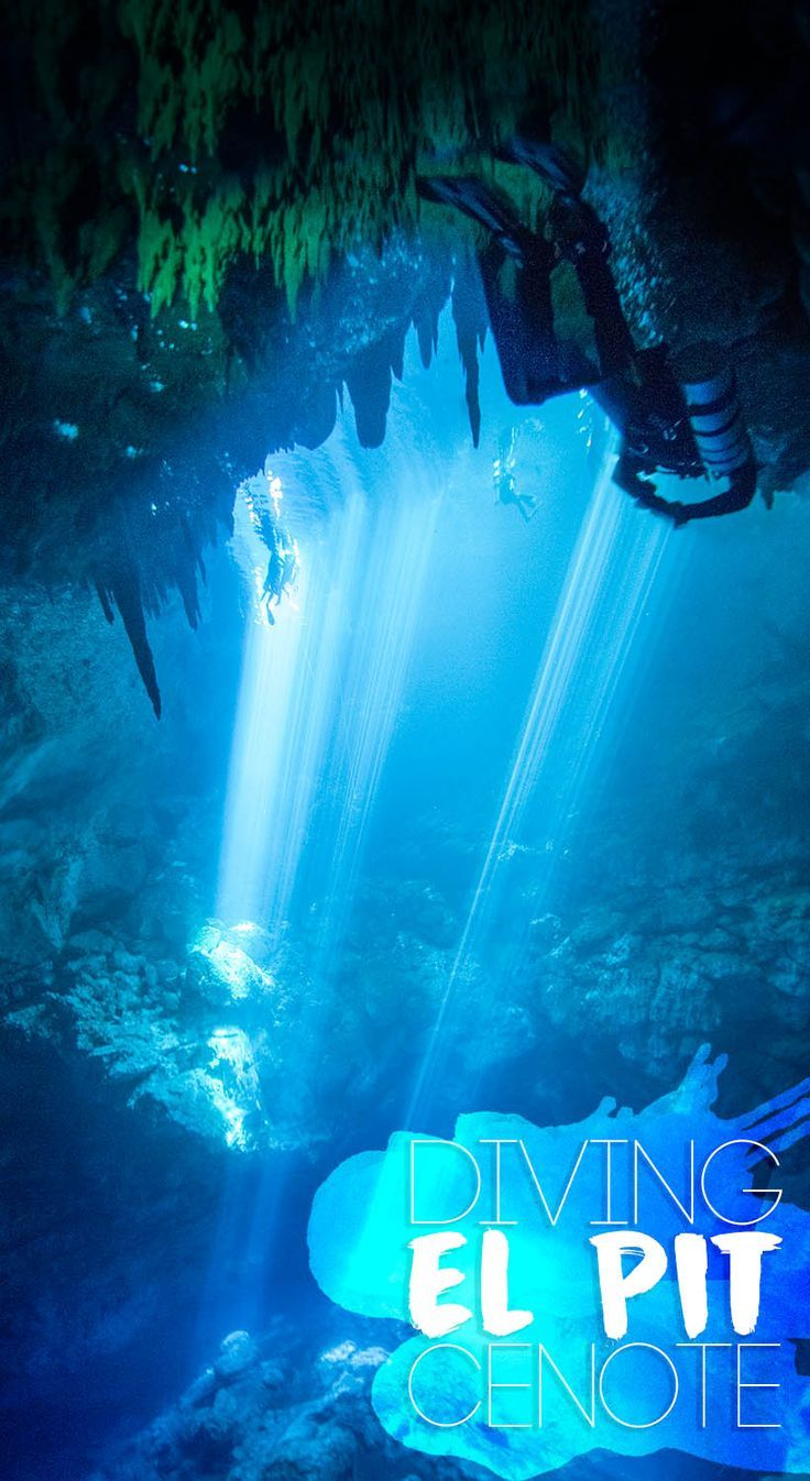 Diving El Pit Cenote near Tulum, Mexico - A favorite of many dive masters, El Pit cenote is a special and unique cenote to dive with magical light beams and a Hydrogen Sulfide layer at the bottom. #Cenote #Diving #CenoteDiving #Tulum #Mexico #Yucatan #PlayadelCarmen via @gettingstamped