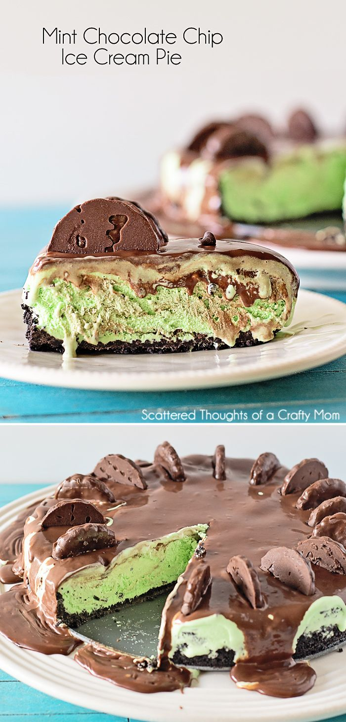Easy and delicious No-Bake Dessert!  Mint Chocolate Chip Ice Cream Pie Recipe. #mint #chocolate