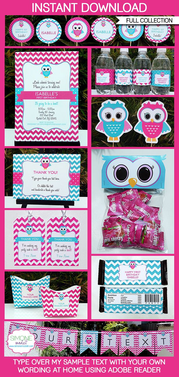 Owl Party Printables in Pink, Invitations & Decorations | Birthday Party | Editable Theme Templates | $12.50 via SIMONEmadeit.com | Everything you could possibly need for a Owl Party!
